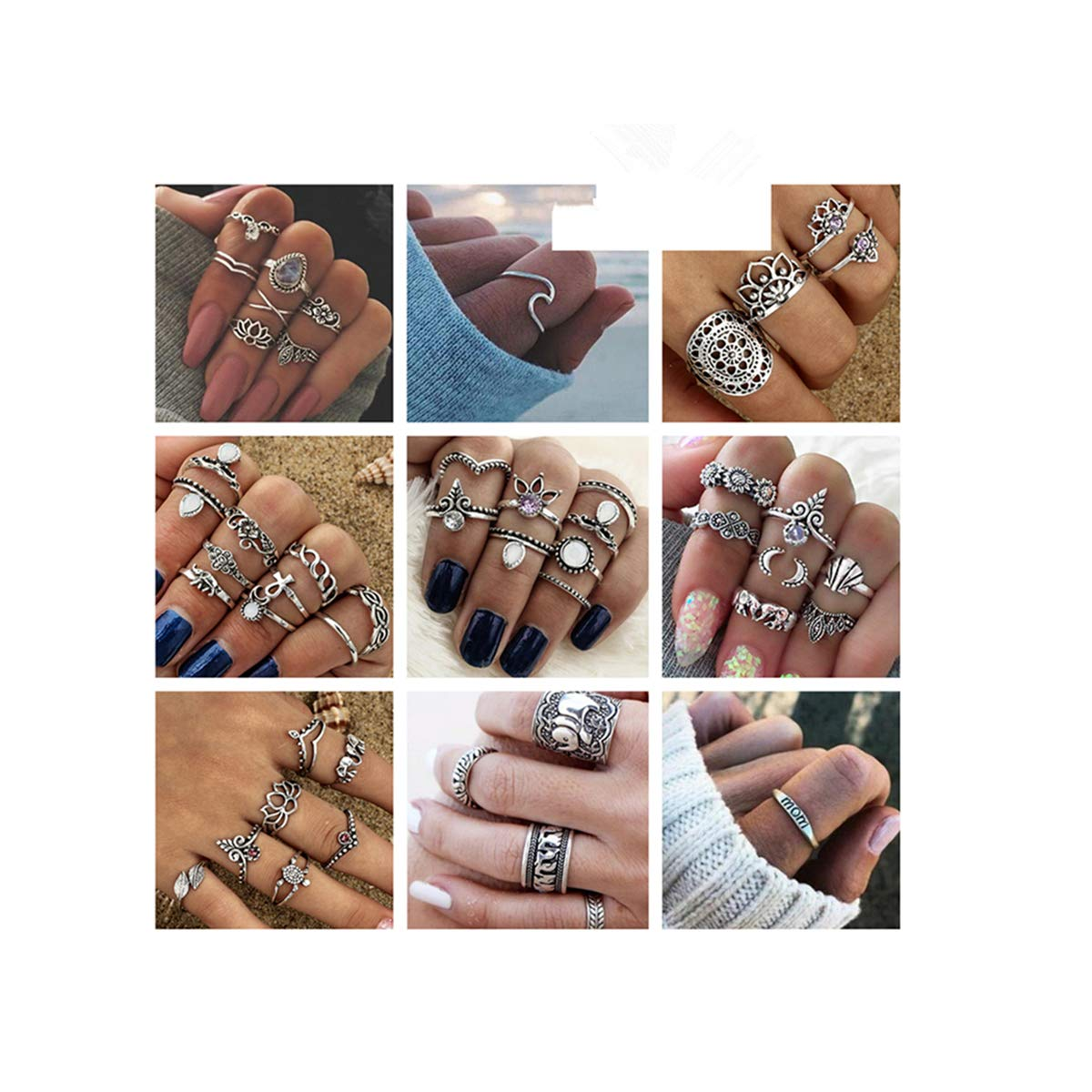 ANGELANGELA Vintage Assorted 12 Set Stacking Rings, Antique Silver Joint Above Knuckle Nail Midi Band Statement Stackable Cuff Toe Finger Ring Set