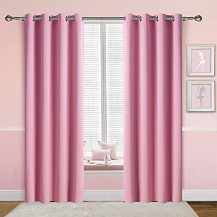 Anjee Light Pink Curtains for Girls Bedroom, 2 Panels 2 Tiebacks Grommet  Blackout Curtains/Window Draperies, Perfect for Room Darkening and Noise ...