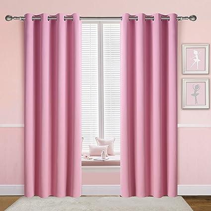 amazon com anjee light pink curtains for girls bedroom 2 panels 2 rh amazon com