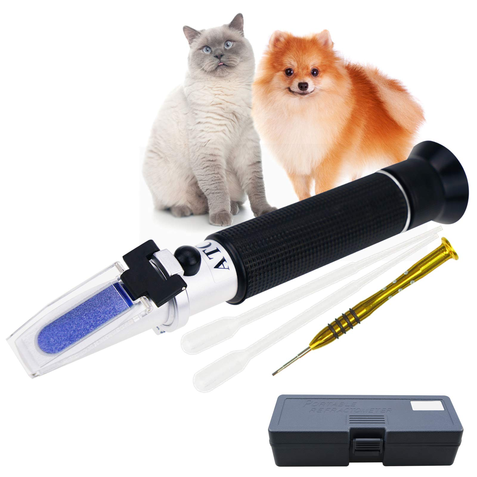 Portable Clinical Refractometer with ATC for Urine Specific Gravity RI Measurement of Pet Dog Cat 1.000-1.060RI and Blood Serum Protein 2-14g/dl, Free Pipettes