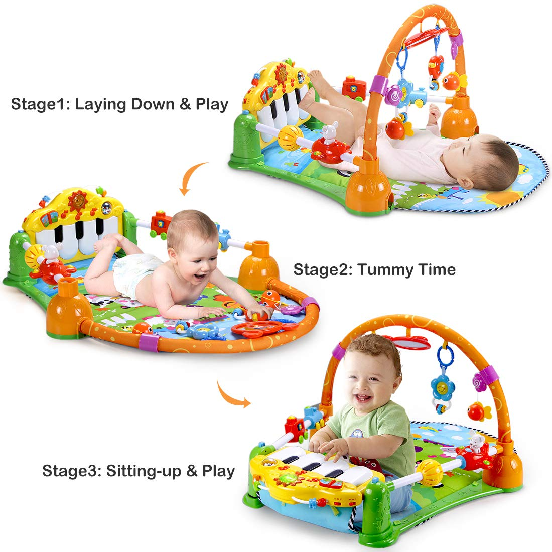 Forstart Kick and Play Piano Play Gym Night Moon Stars Light Projector Large Activity Play Mat Newborn for Baby 1-18 Month Sit Lay Down Infant Tummy Time Sensory Development Educational Playtime