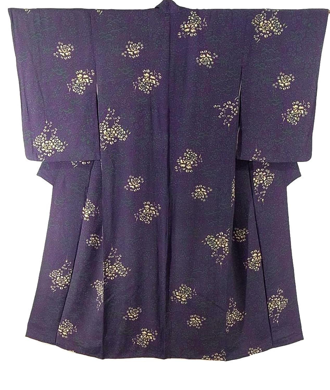 アンティーク 着物 桐や梅に鼓と薔薇の花 正絹 裄59.5cm 身丈145cm B07DPJFDSF  -