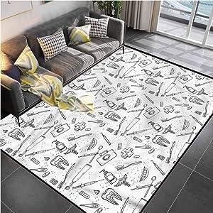 Area Rugs Print Large Carpet Doodle,Medical Dental Care Desk Chair mat for Carpet for Living Room Bedroom Playing Room 6'x9'