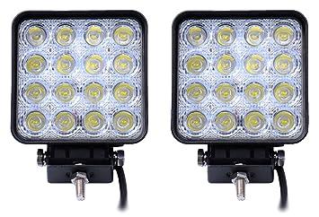 Leetop 2x LED 48W Lámpara de Trabajo como Luces de Carretera de Vehículos Focos 6500K IP67