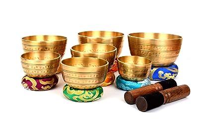 Juego de 7 platos de meditación tibetanos de Bermoni para la ...