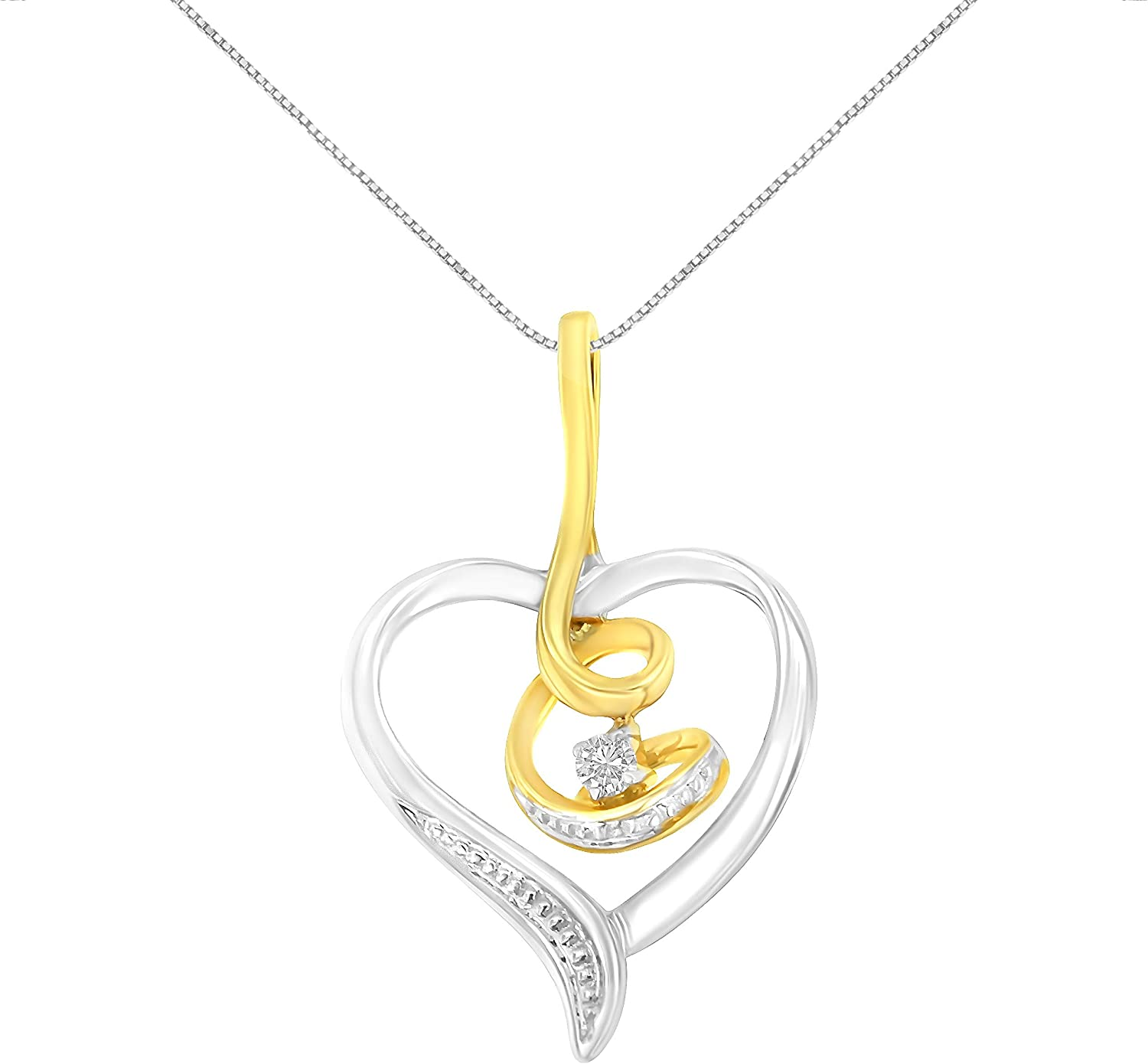 18 HN Jewels Mothers Day Special Diamond Accent 14K Gold Plated .925 Mom Heart Pendant Necklace