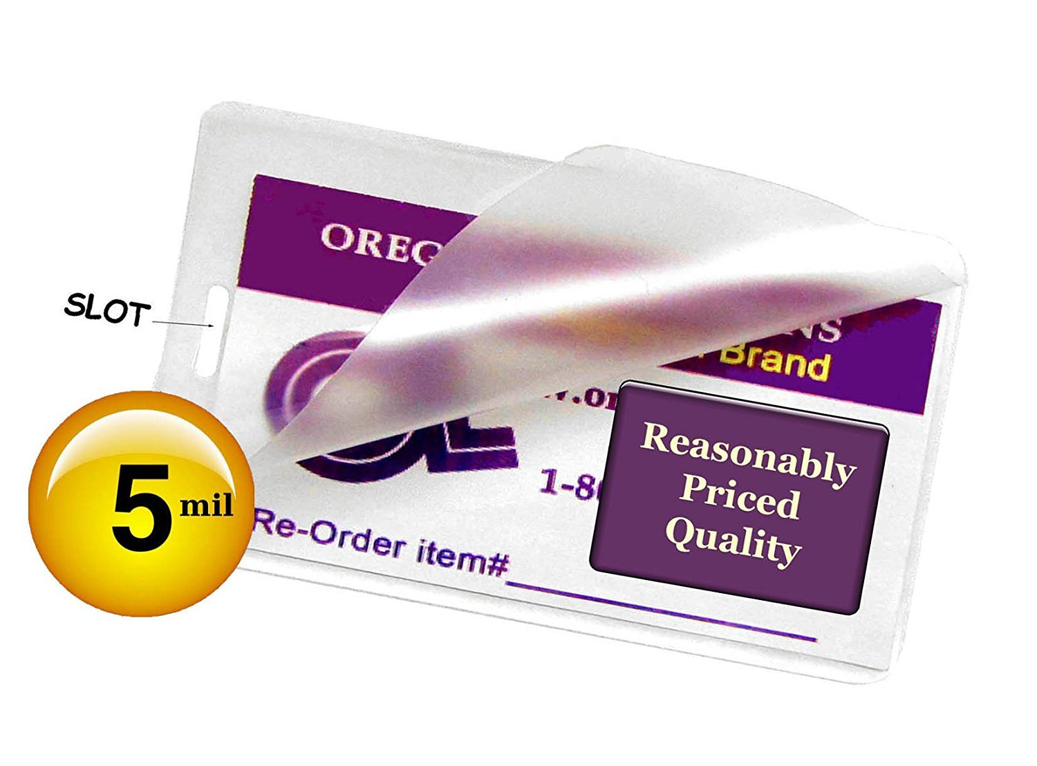 Clear Pack of 1000 Oregon Laminations Premium 5 Mil Luggage Tag size Hot Laminating Pouches With Slot 2-1//2 x 4-1//4