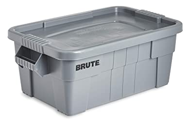 Rubbermaid Commercial Brute Tote Storage Bin With Lid, 14 Gallon, Gray (Fg9 S3000 Gray) by Rubbermaid Commercial Products