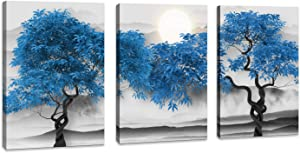 Black and white Landscape Blue tree Moon Canvas Home Wall Decor for living room Artwork Painting 12