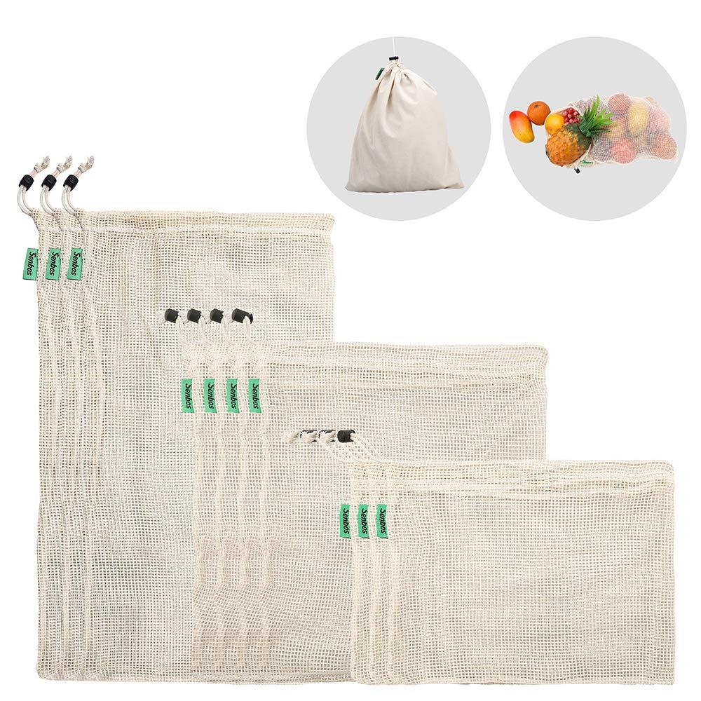 E-Know Gemüsebeutel aus Baumwolle,11er Set Obst und Gemüsebeutel Natural Mesh Baumwolle, Zero-Waste (3 Kleine, 4 Mittlere, 3 große, 1 Aufbewahrungstasche) 3 große