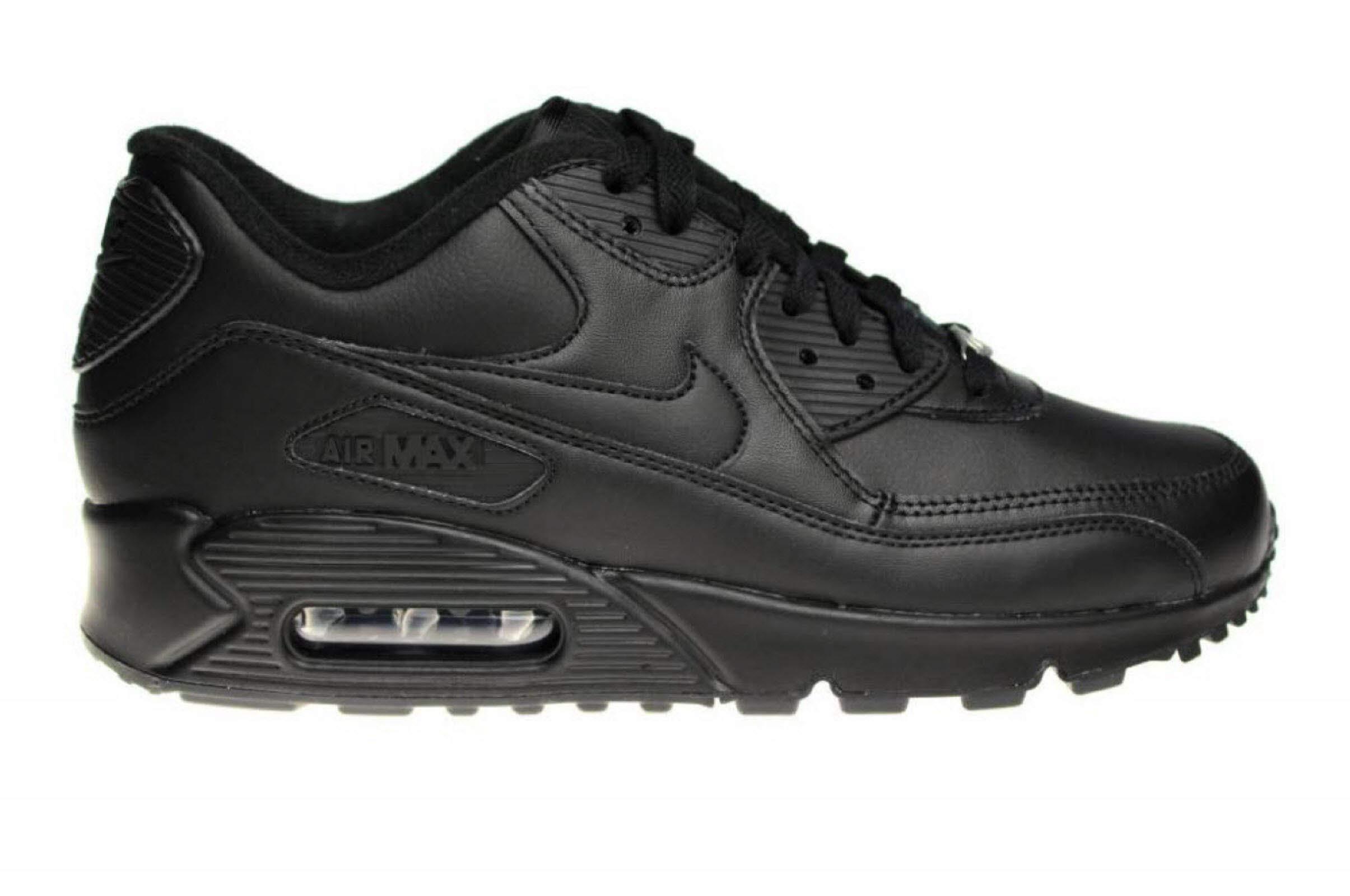 Herren Schwarz Nike Air Max 90 Leather Running Schuhe