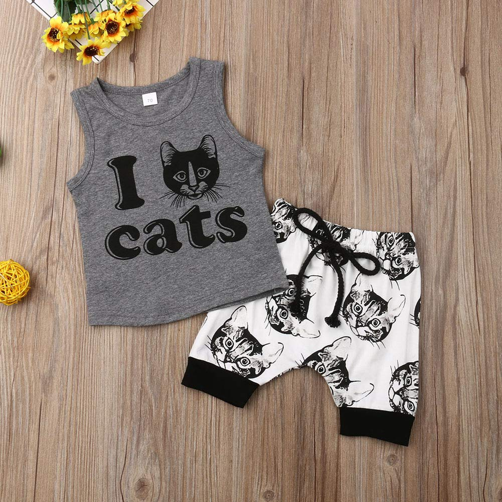 2Pcs Newborn Infant Baby Boy Girl Letter Print Sleeveless Tank Tops Cat Print Shorts Set