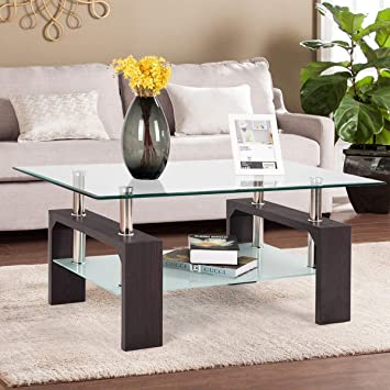 mecor Rectangle Glass Coffee Table-Wulnut Modern Side Coffee Table with  Lower Shelf 7b707f9d5