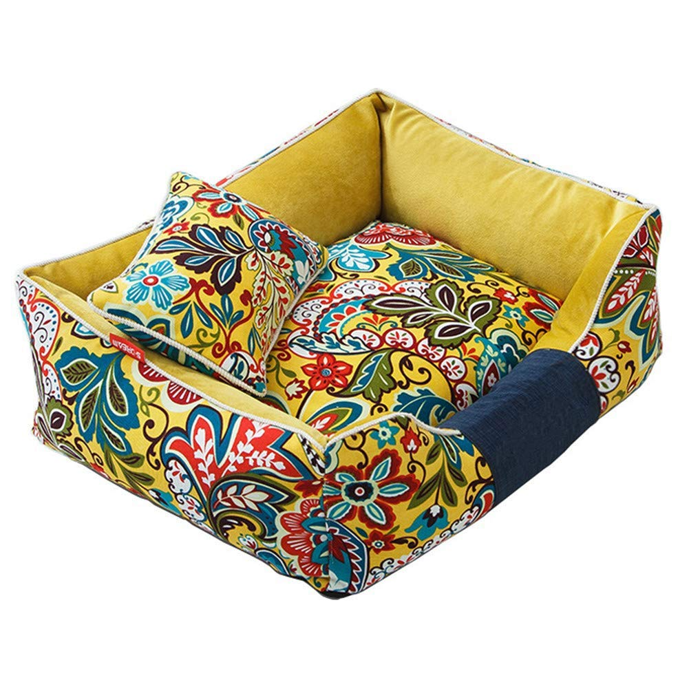 Small Dog Bed, Printed Pet Mat Fully Removable and Washable Kennel Thick Warm Classical Pattern Cat Nest Basket