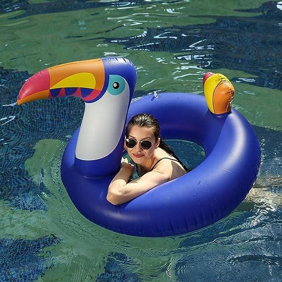 SXC Flotador de Piscina tucán Inflable Gigante,Fiesta en la Piscina Balsas inflables Piscina al Aire Libre Floatie Lounge,Juguetes de Playa, Adecuado para ...