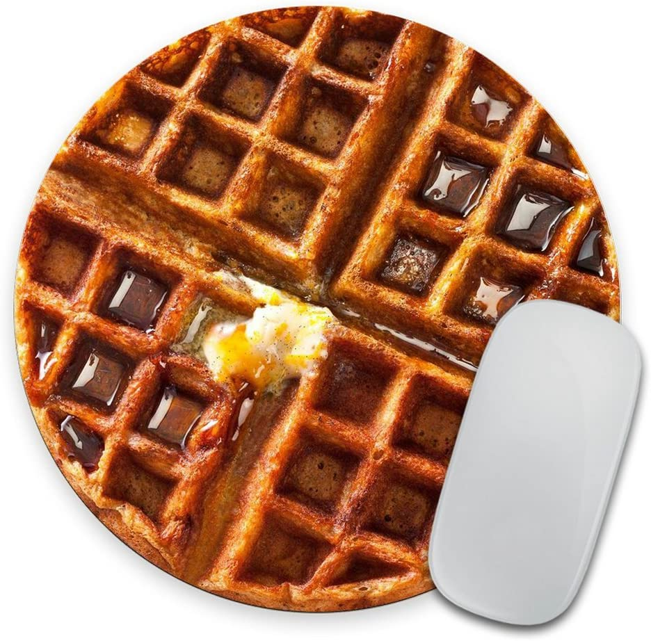 Giant Waffle with Melted Butter and Syrup - Circle Mouse Pad - Mousepad - Funny - Coworker Gift Teacher Gift - Realistic Food - Breakfast