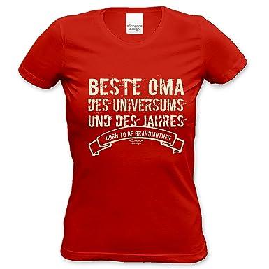 bequemes T-Shirt Frauen Damen Motiv Beste Oma des Universums Geschenk-idee,  Muttertag, Weihnachten kurzarm Outfit, Kostüm Farbe: rot: Amazon.de:  Bekleidung
