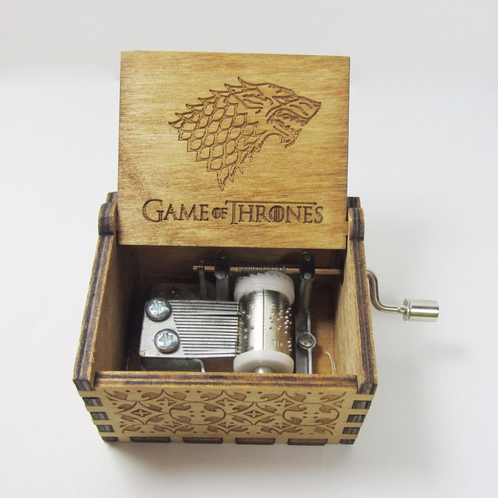 Bayram Game of Thrones music box with wooden crank | wind-up musical box to play the famous tune, in a Winter is Coming design - Stark gift Gadget