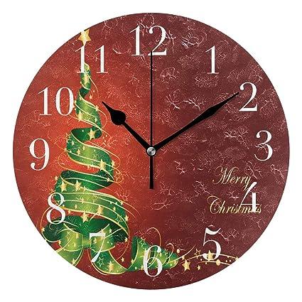 Amazon Com Funnycustom Round Wall Clock Trendy Merry
