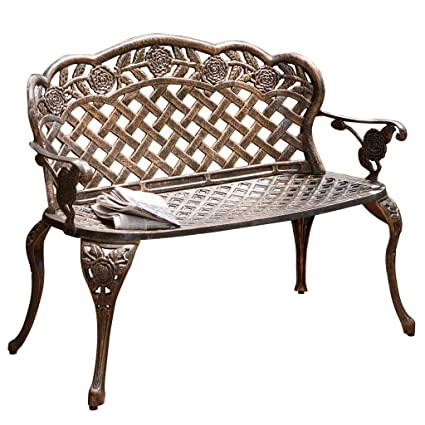 Marvelous Christopher Knight Home Santa Fe Cast Aluminum Garden Bench Squirreltailoven Fun Painted Chair Ideas Images Squirreltailovenorg