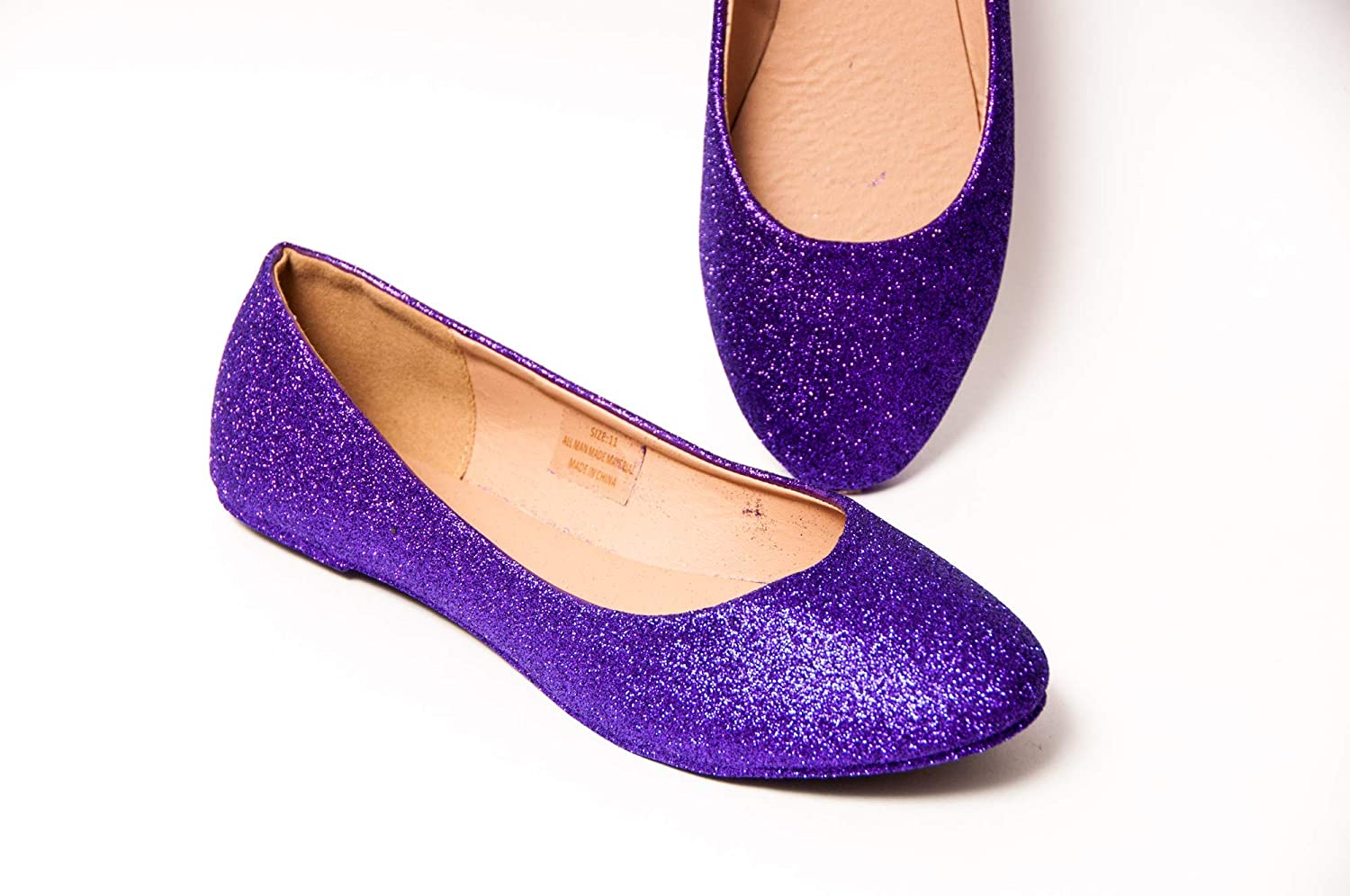 Womens Hand Glittered Passion Purple Glitter Ballet Flats Slip On Shoes by Princess Pumps