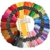 Embroidery Floss 100 Skeins Soft Cross Stitch Threads Rainbow Color Sewing Floss with Free Embroidery Needles and Plastic Card Board
