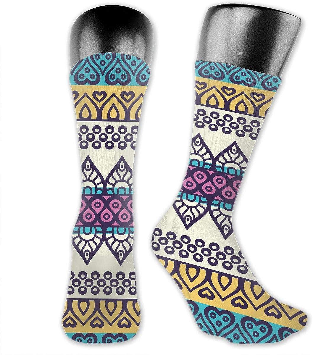 Geometric Fringes Symmetric Cotton Casual Colorful Fun Below Knee High Athletic Socks
