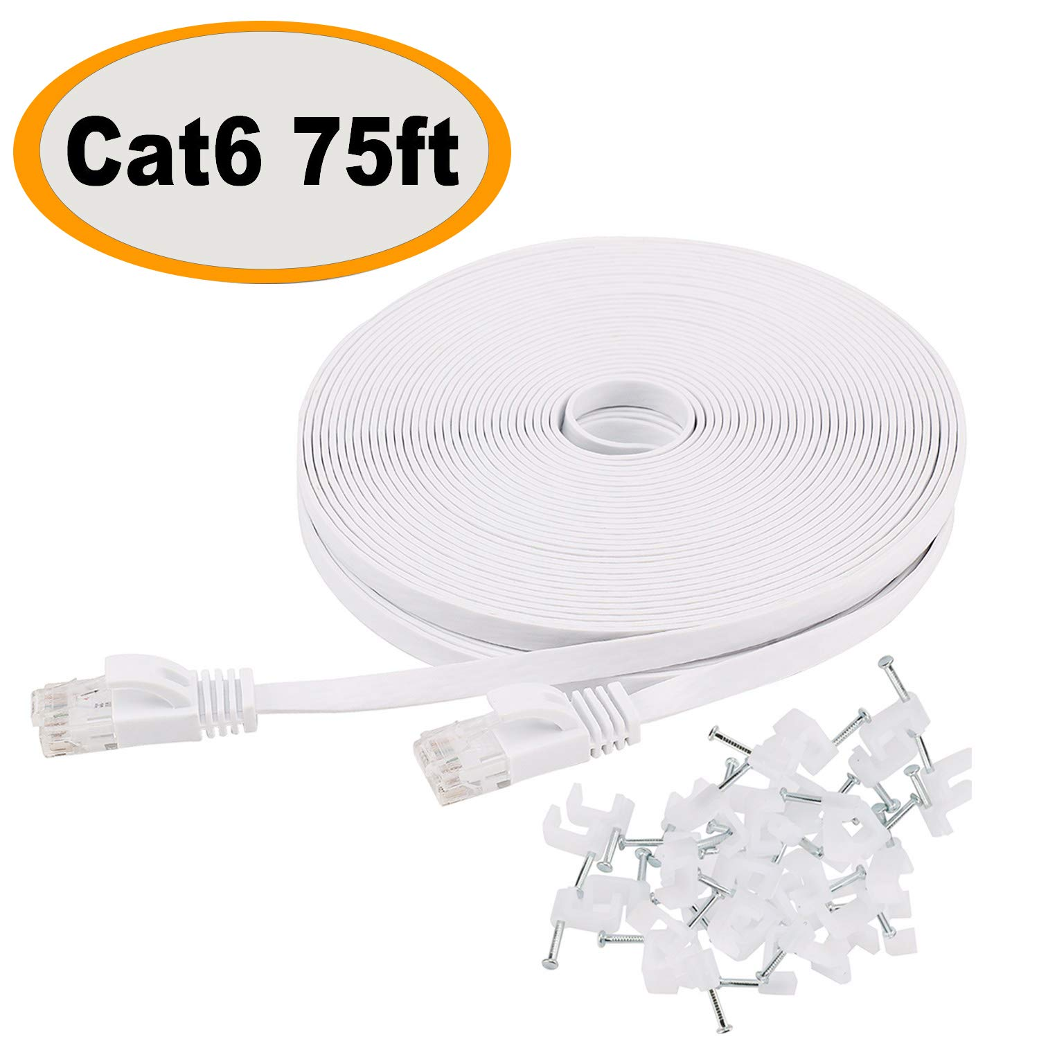 Cat 6 Ethernet Cable 75 ft Flat with Clips, Durable Long Internet Network LAN Patch Cords, Solid Cat6 High Speed Computer wire with RJ45 Connectors for Router, Modem, PS, Faster Than CAT5E/Cat5, White by Jadaol