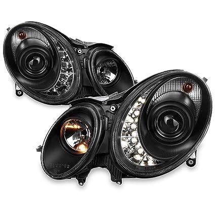 Benz W211 Clase E 4 puertas Sedan Negro Bisel DRL LED proyector ...