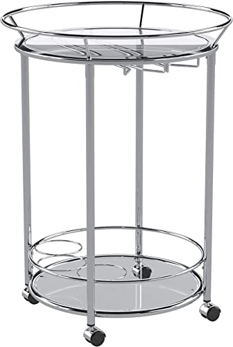 Union 5 Home Mortain Round Chrome Metal Mobile Bar Cart with Glass Top