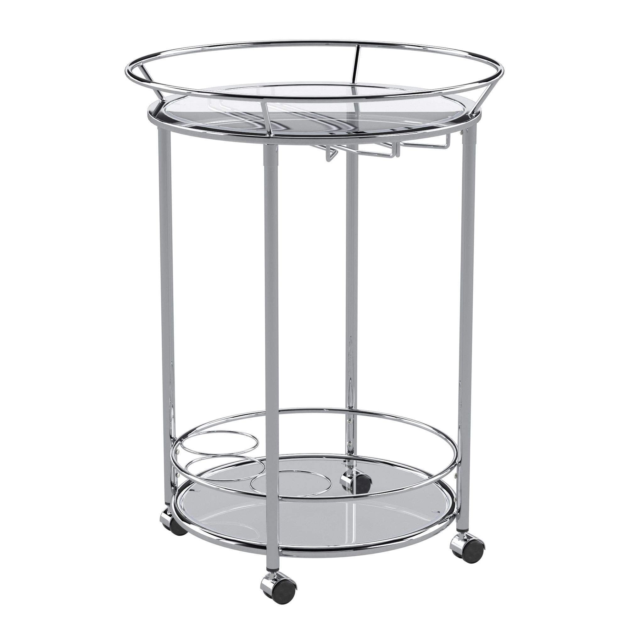 Union 5 Home Mortain Round Chrome Metal Mobile Bar Cart with Glass Top by Union 5 Home