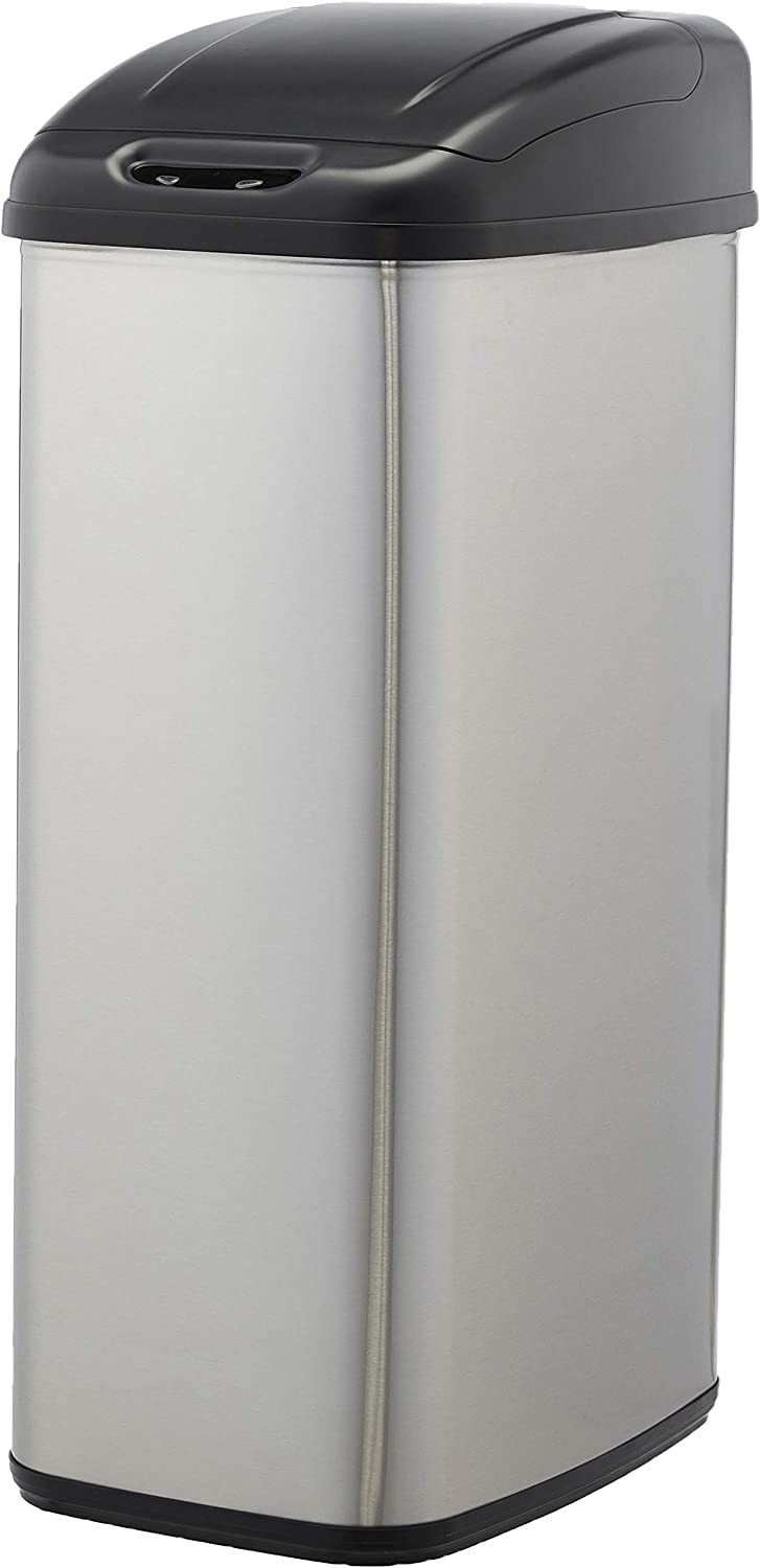 AmazonBasics Automatic Stainless Steel Trash Can - For Narrow Spaces, 50-Liter