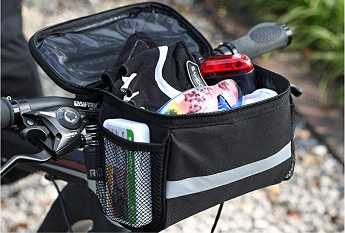 Betuy Bike Handlebar Bag 3.5L Polyester Tear-resistent Cycling Basket Front Pack Frame Bag Pannier with Reflective Strip and PVC Touch Screen for Map Phone Water Bottle Bicycle Accessories