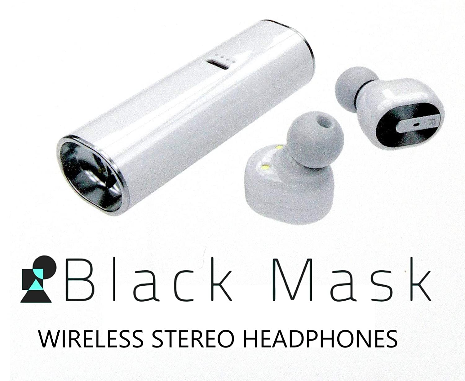 Black Mask Bluetooth Wireless Earbuds Set of 2 Easy Dual Pairing Portable Charging Station Great for Office Beach Outdoors Indoors