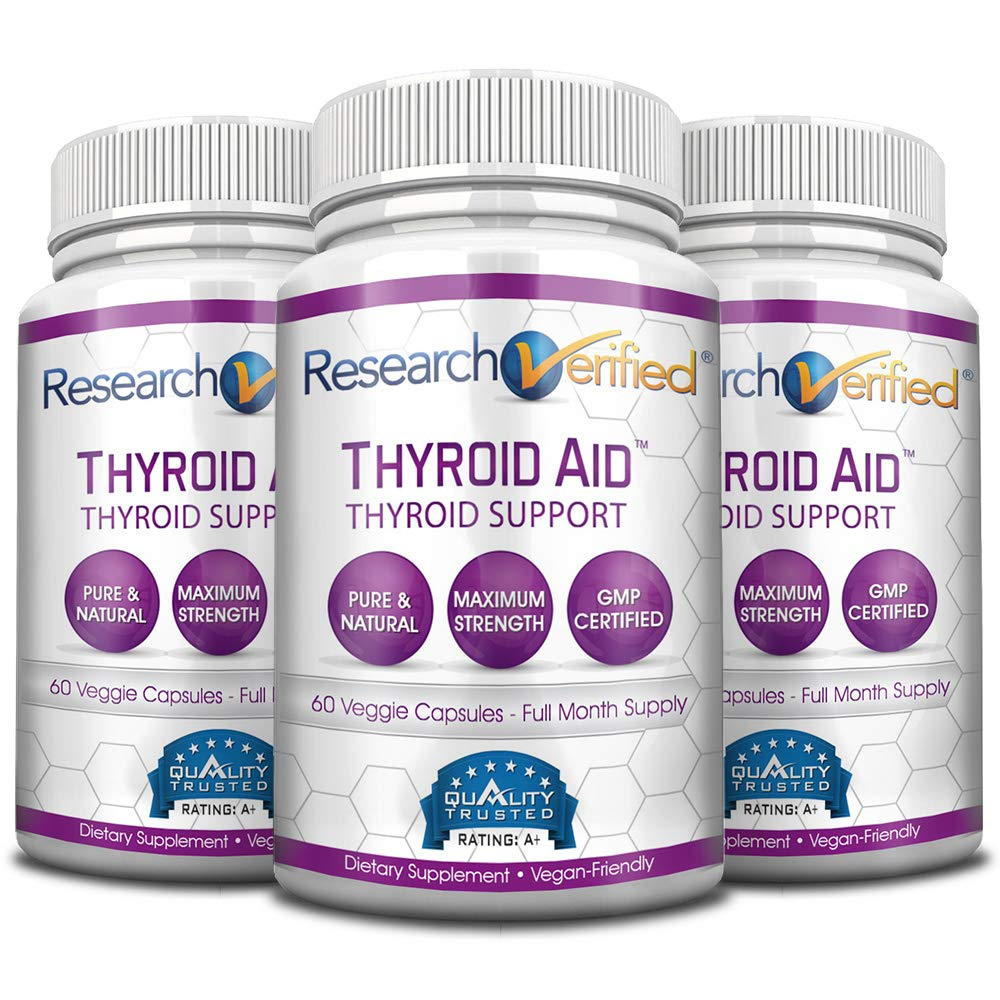 Research Verified Thyroid Aid - With Iodine, Vitamin B12, Selenium, Coleus Forskholii, Kelp, Ashwaghnada & More - 100% Pure, No Additives or Fillers - 100% Money Back Guarantee - 3 Months Supply by Research Verified