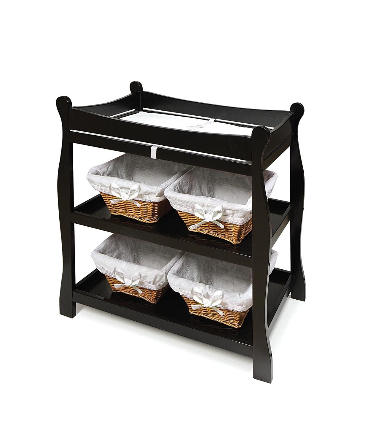 Amazon.com : Badger Basket Sleigh Style Baby Changing Table, Black : Black  Baby Cribs : Baby