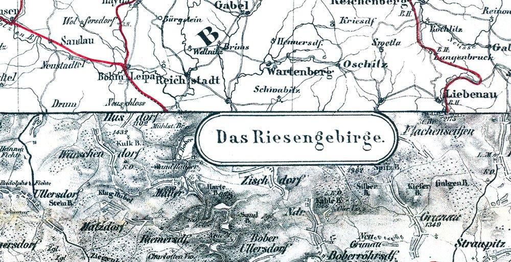 riesengebirge karte Historische Karte: Schlesien mit dem Riesengebirge, um 1890 (plano  riesengebirge karte