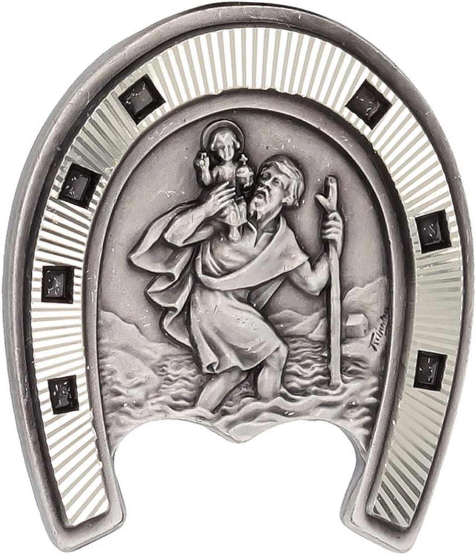 Les Tr/ésors De Lily - 33x29 mm Q2983 - Magnet Artisanal Saint Christophe argent/é Fer /à Cheval