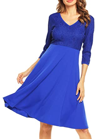 ccdc3f141f Beyove Women s Casual Lace Stitching 3 4 sleeve Pleated Swing Midi Cocktail  Party Dress £