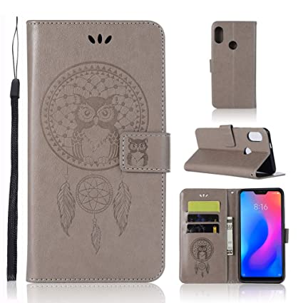 Abuenora Xiaomi Mi A2 Lite Funda Libro, Carcasa con Tapa Flip Case Antigolpes Cartera Billetera PU Cuero Polipiel Suave para Xiaomi Mi A2 Lite - Gris