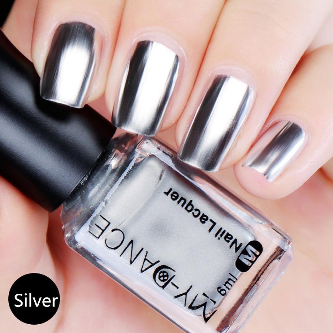 Nail Art,Jinjin Flow Gold Mirror Chrome Effect Nail Polish Foil Nails Art Glitter Silver Nail Art Tools (A)
