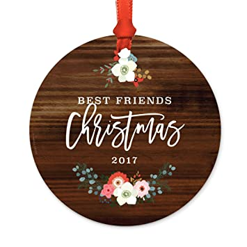 andaz press family metal christmas ornament best friends christmas 2018 rustic wood florals - Best Friend Christmas Ornaments