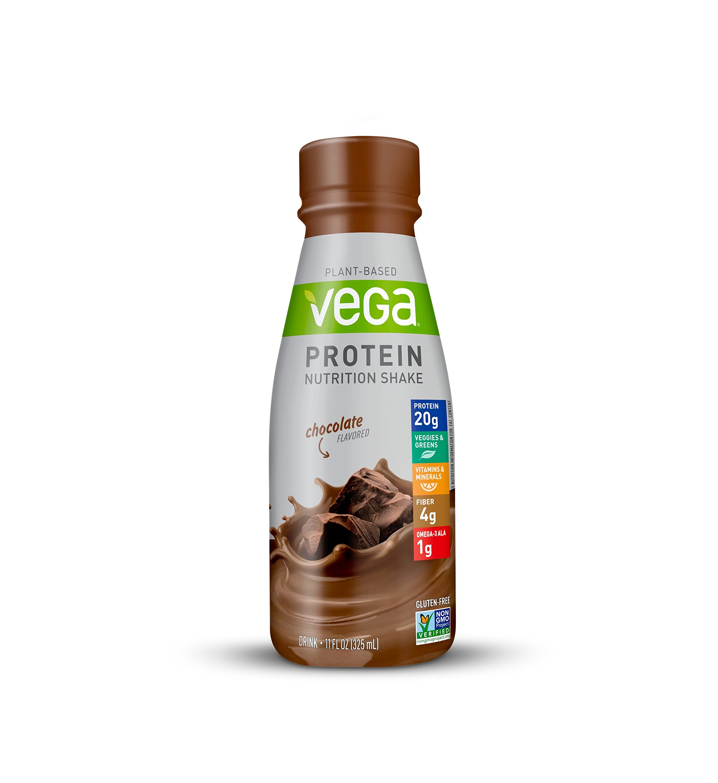 Vega Protein Nutrition Shake, Ready to Drink, Vegan, Gluten Free, Chocolate, 11floz (Pack of 12)