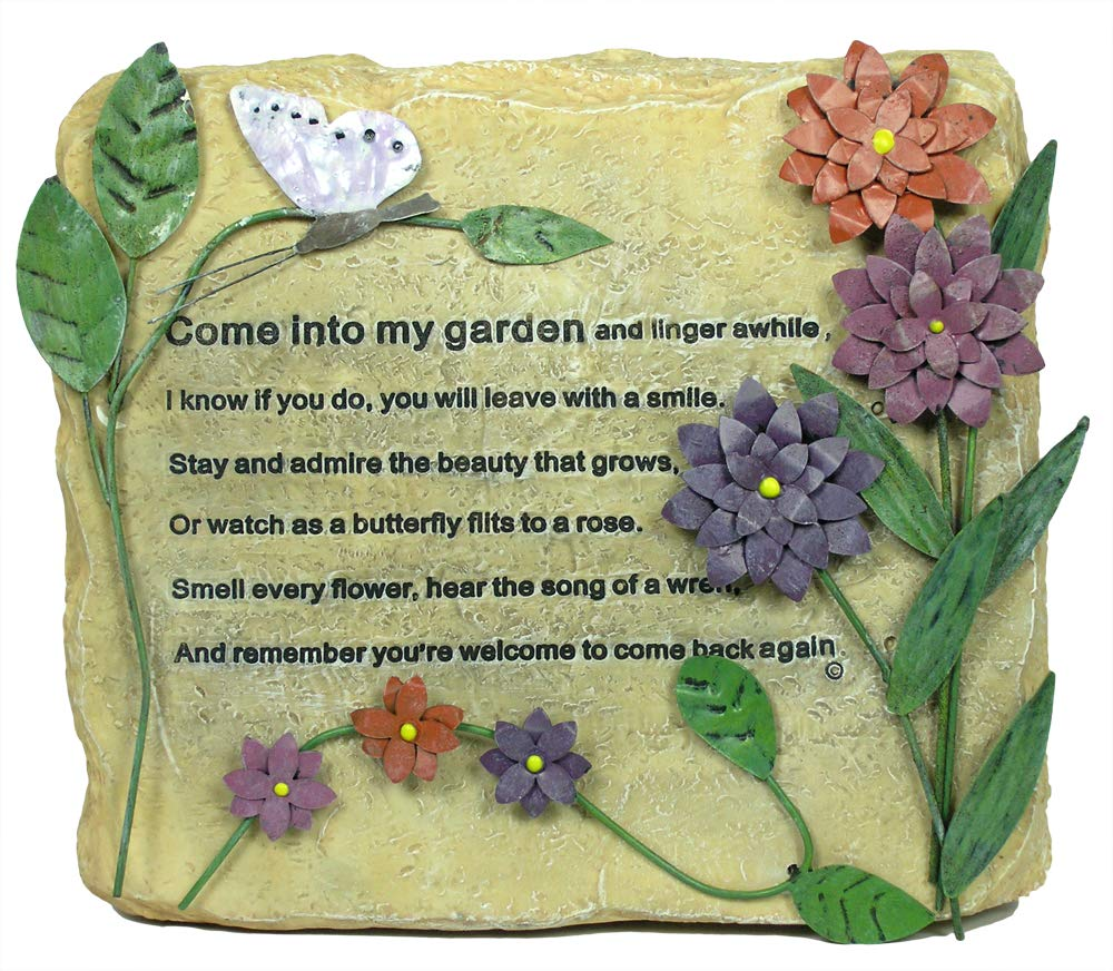 BANBERRY DESIGNS Decorative Garden Rock - Colorful Metal Flowers and Butterflies with Engraved Saying