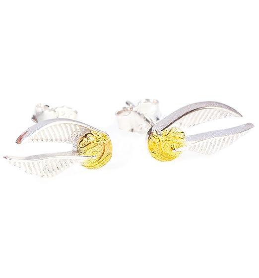 Amazon Com Sterling Silver Harry Potter Golden Snitch Stud Earrings