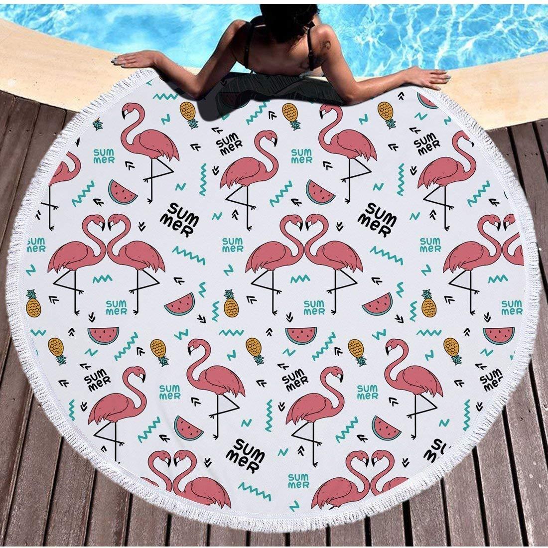 Yansion - Toalla de playa redonda con flamencos a prueba de arena, manta de playa product image