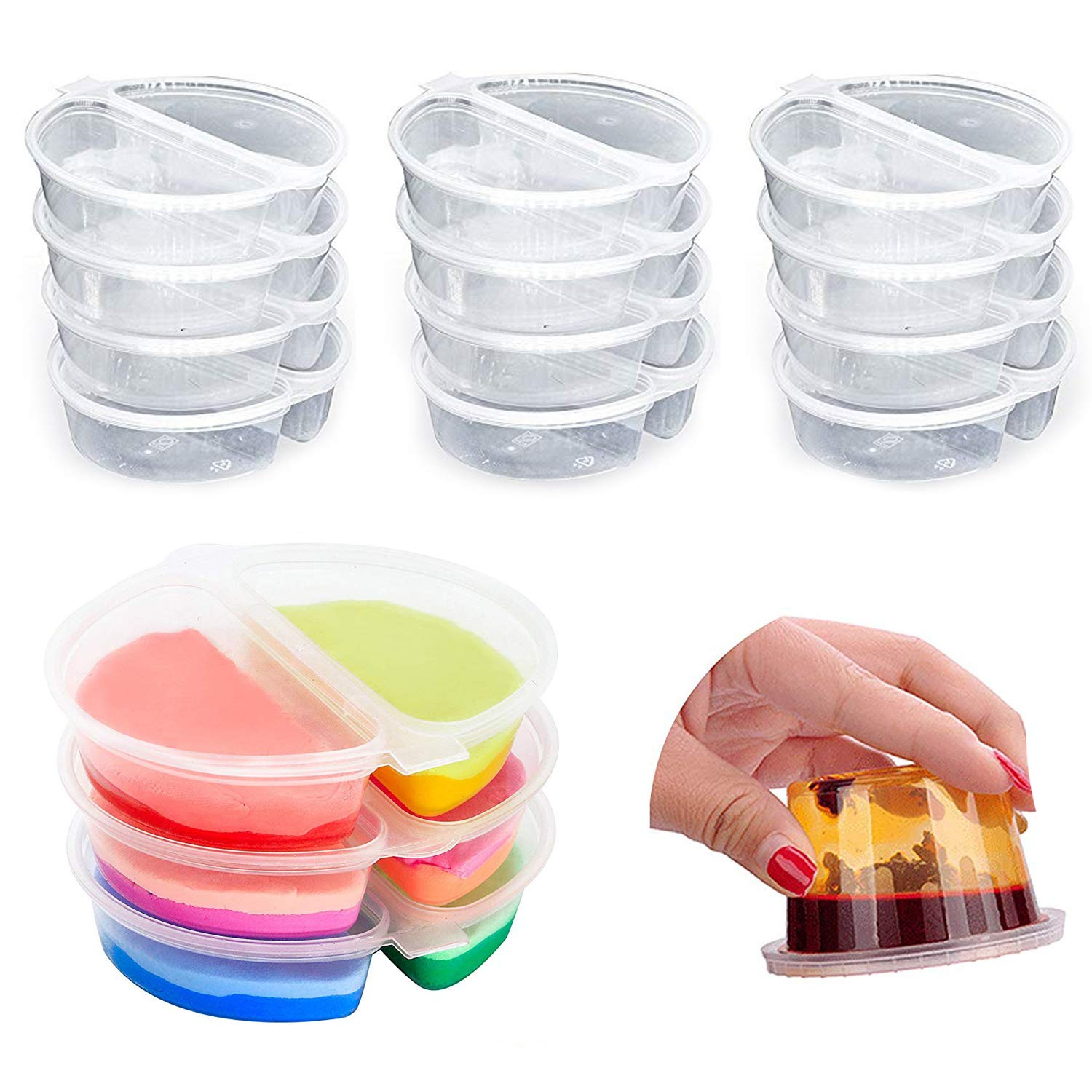 30 Pack Two-Compartment Condiment Containers with Attached Lid Reusable for Work School Home Travel