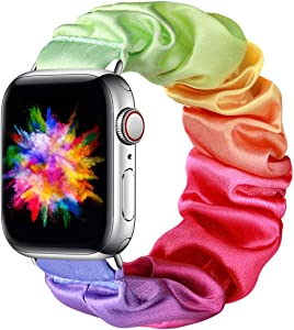 Easuny Compatible with Apple Watch Band 38mm 40mm Soft Scrunchie Floral Elastic iWatch Bands Womens Girls Apple Watch Series 6/5/4/SE/3/2/1, Tie-dye Rainbow L