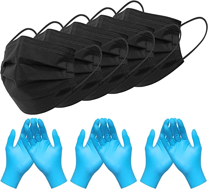 BDTTBZ Black Disposable Face Mask and Nitrile Gloves Set, 50 Pcs 4 Ply Adjustable Breathable Face Masks and 100Pcs 3Mil Nitrile Synthetic Vinyl Gloves Latex Free(Large) for Women Men Adult