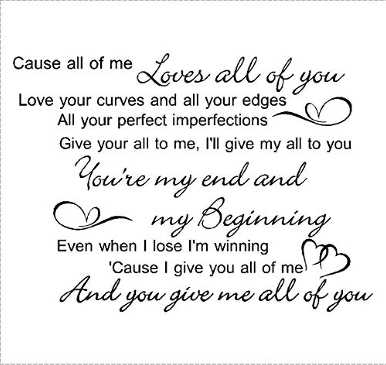 Amazon John Legend All Me Love Song Music Lyrics Quote Art Matt